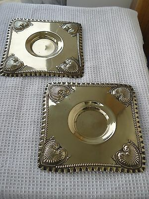2 Antique Art Nouveau EPNS square candle dishes/plates Repousse design c1900-20s
