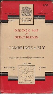 Ordnance Survey One Inch 7th Series Cloth Map 135 Cambridge & Ely