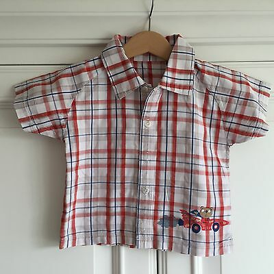 Mothercare 9-12 month boy Cotton Shirt short sleeve check. Bear layering red