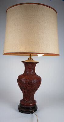 """Antique Chinese Carved Lacquered Cinnabar Vase Lamp 1890s 28"""""""