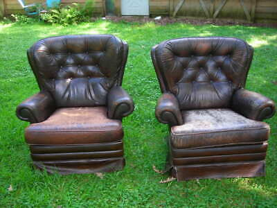 Pair Of Vintage/antique Distressed Leather Wingback Arm Chairs 39X36X24