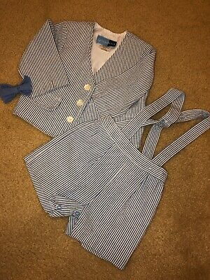 Good Lad Boys Blue 3pc Outfit Shorts Jacket/Blazer Bow tie  12 Months