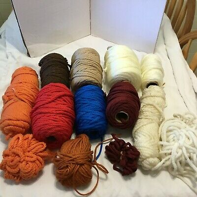 9 Rolls & Scraps of Macrame Cord Used Skeins Different Colors Sizes 2 Wood Beads