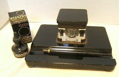 Antique Black Glass Inkwell With Ink And Pen