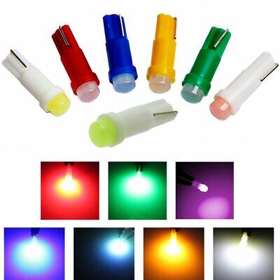 50X T5 LED Bulb Auto Side Wedge Gauge Dashboard Light Red Green White 7Colors