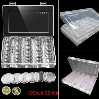 100pcs 30mm Clear Round Plastic Coin Capsule Collection Available Box Holder US