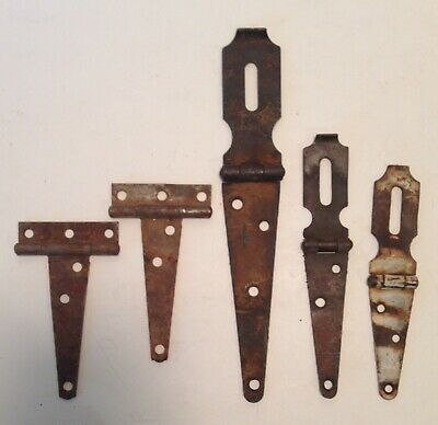 Lot Of 5 Vintage Antique Rusty Primitive Hinges Latches From Rustic Estate