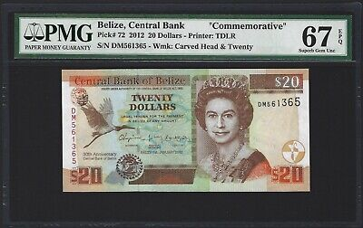 BELIZE $20 Dollars 2012, P-72, PMG 67 EPQ SUPERB GEM UNC, Commemorative, QEII