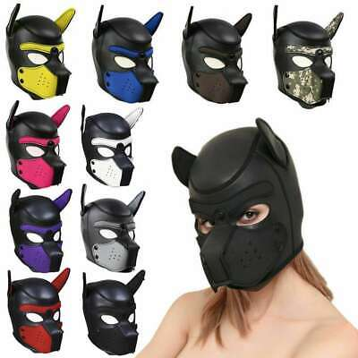 Soft Padded Latex Rubber Puppy Cosplay Role Play Dog Mask Full Head with Ears