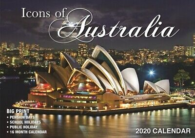 Icons of Australia - 2020 Rectangle Wall Calendar 16 Months by Bartel (A)