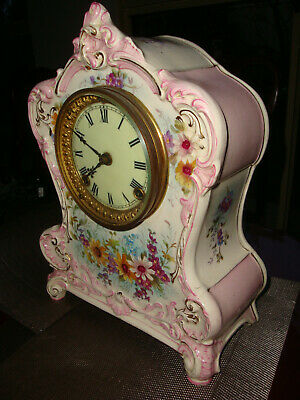 "Antique Ansonia Porcelain ""La Clair"" 8 day Shelf Clock Running Striking well"