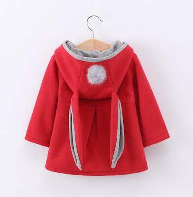 Kids Girls Cute Ears Children Baby Jacket Fashion Outwear A Line Pompom Coat B20