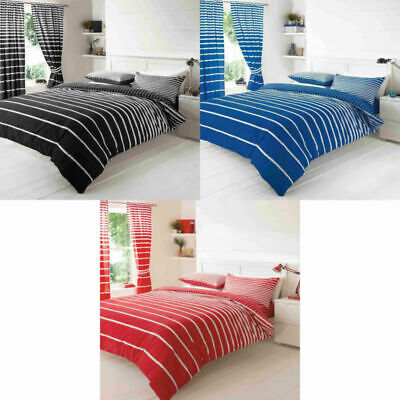 Duvet Cover Set Quilt Covers Reversible Bedding Sets GC with Linear Stripes Luxu