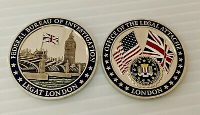 DOJ FBI Federal Bureau Investigation Legat London England Attaché Challenge Coin