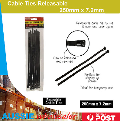 Cable Ties Releasable 250mm 12/48/96/288pc Nylon Plastic Reusable Wraps Wire