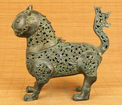 Rare chinese old copper hand carved cat statue incense burner table decoration