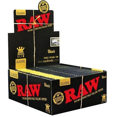 RAW BLACK Papers King Slim Authentic Classic Natural Unrefined