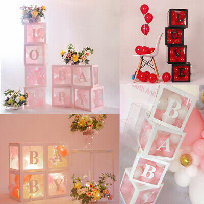 Baby Love Cube Transparent Gift Boxes Kid Birthday Baby Shower Party Decoration