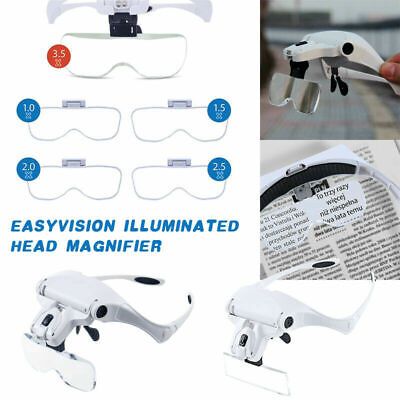 Head Magnifier 2 LED Lights Magnifying Glasses Headband Loupe Hands Free 3D lens