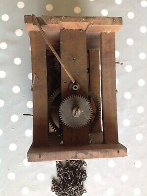 Antique Wall Clock Movement Chiming Weight Driven To Restore 22x16x12cm
