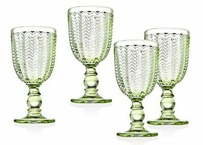 Twill Red Wine Goblet Beverage Glass Cup by Godinger – Emerald Green – Set of 4