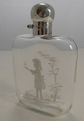 English Mary Gregory Glass and Sterling Silver Liquor / Whisky Flask 1922