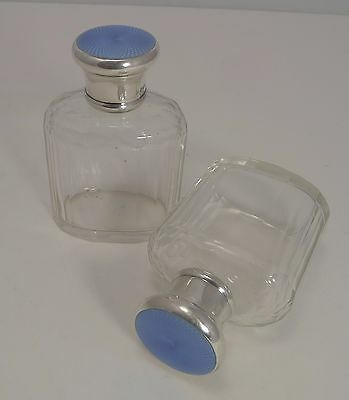 Pair Vintage Sterling Silver and Guilloche Enamel Cologne / Scent Bottles