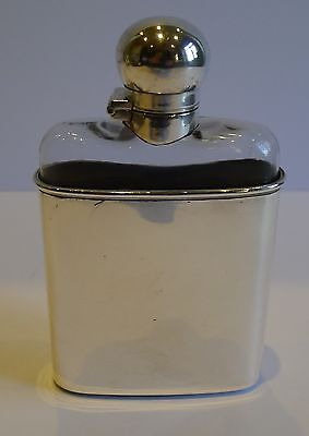 Unusual Antique English Sterling Silver & Glass Hip or Liquor Flask - 1900