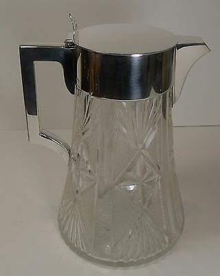 English Cut Crystal and Silver Plated Lemonade or Pimms Jug / Pitcher c.1900