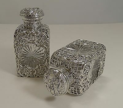 Pair Victorian Sterling Silver and Cut Crystal Perfume Bottles by William Comyns