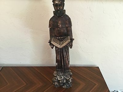 """18/19thC Antique Wood carved statue santos St Paul ? Matthew With bible 26"""""""