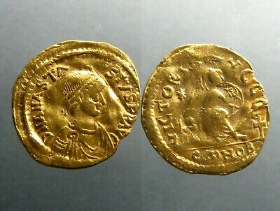 ANASTASIUS GOLD SEMISSIS______Constantinople Mint______VICTORY SEATED ON SHIELD
