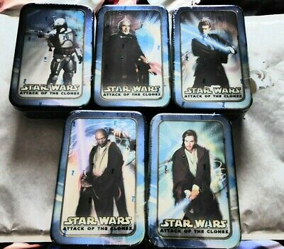 Sealed Set Of 5 Tins 2002 Topps Star Wars Attack Of The Clones Trading Cards New