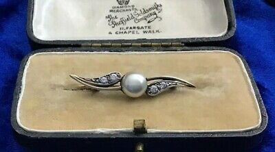 Stunning Antique Art Deco Silver Pearl & Crystal Set Brooch