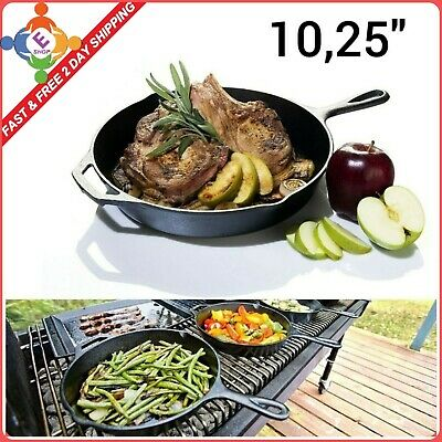 Lodge Cast Iron Skillet 10-1/4-Inch Pre-Seasoned Kitchen Cooking Handle Pan New
