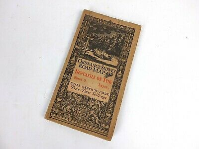"""Antique 1913 Ordnance Survey Road Map Newcastle On Tyne 1/2"""" to 1 Mile OS"""