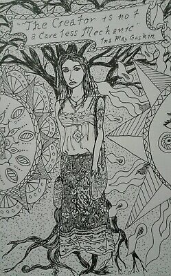 Original Pen and Ink Drawing Hippie Midwife, Bohemian art by J Crow Smith