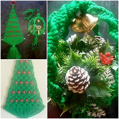 Vtg Handmade Macrame Hanging Christmas Decoration Lot Tree Holly