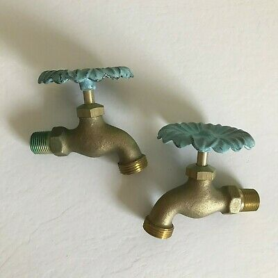 2 Outside Brass Floral Handle Water Faucet Taps Spigots New old stock