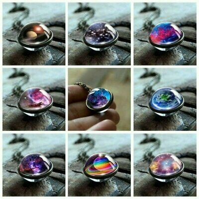 Glow in the Dark Solar System Double Sided Glass Dome Planet Necklace Pendant
