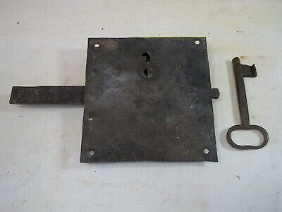 Huge Antique Hand Forged Iron Door Lock And Key - Barn Gate Castle B0966