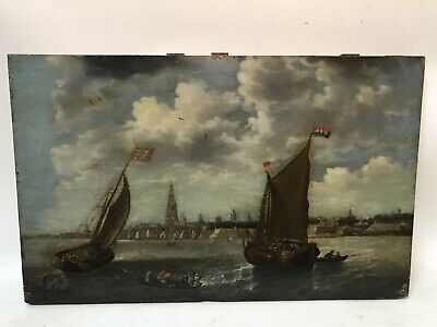 Antique Old Master Harbor View 18th Century European Masterpiece Oil Painting