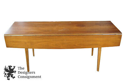 Mid Century Modern Long Walnut Drop Leaf Dining Table