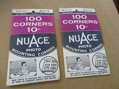 1969, Nuace Photo Mounting Corners, 2 Packs, 100 Per Pack, White, Unused, Nos