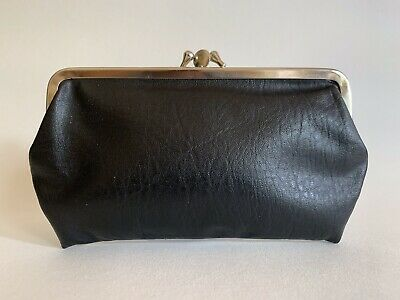 Large Black Well Loved  Faux Leather 1950s Vintage Double Sided Coin Purse.
