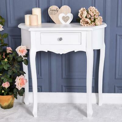 White Hall Console Table Ornate Side End Bedroom Hallway French Chic Half Moon
