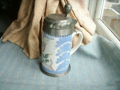 Old German Pottery Pewter Holsten Replica Bayreuth Faience Beer Tankard Stein