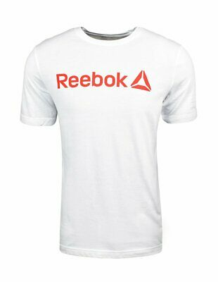 New Reebok Linear Read T-Shirt White/Neon Red Size Large