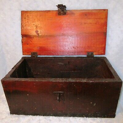 "Vtg ANTIQUE 8""x16"" Handmade Rustic WOOD TOOL BOX Hinged Lid & Hasp HARD WORN"
