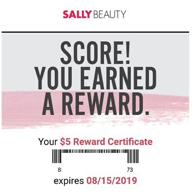 SALLY BEAUTY REWARD CERTIFICATE - $5 OFF!! - Unique Code! -  Hurry!! Exp 8/15/19